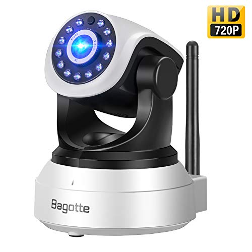 Telecamera di Sorveglianza,Bagotte IP Camera 720P Wifi P2P Pan/Tilt Videocamera di Sicurezza con...
