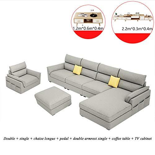 Divano in Tessuto Divano Moderno Regolabile Divano a Forma di L Combinazione Completa di Set, Poltrona Lounge Extra Larga Lounge