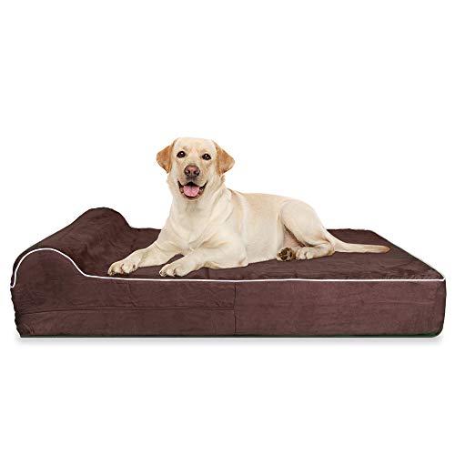 KOPEKS Letto Ortopedico per Cani in Schiuma Viscoelastica, Cuccia con Cuscino e Fodera Impermeabile per Cane e Animali Domestici - Taglia XL - Dimensione 127 x 85 x 18 cm - Marrone