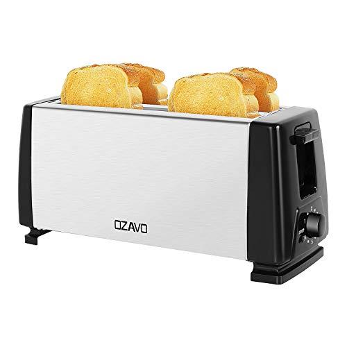 OZAVO Tostapane a fessura lunga, 4 fette di toast, con cassetto raccoglibriciole, doppia fessura,...