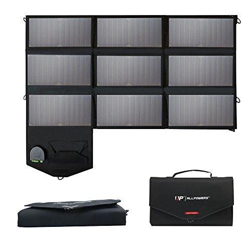 ALLPOWERS Pannelli Solari, 18V 60W Sunpwer Portatile Caricatore con 5V USB 18V DC Pieghevole...