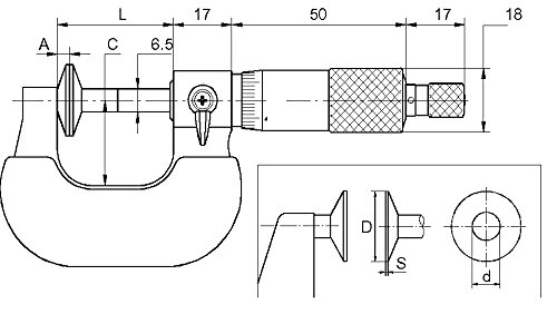 CNC Digital Measuring Range Outside Micrometer 75–100mm with Measuring diameter: 20mm