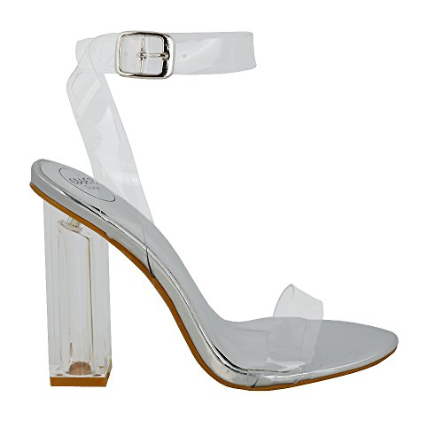 separation shoes daa7e d724d ESSEX GLAM Damen Silber Metallisch Kunstleder Durchsichtige Sandalen  Perspex Promi Knöchelriemchen Absatzschuhe EU 37