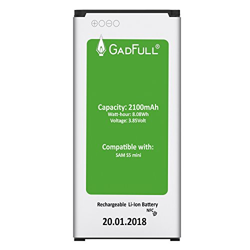 GadFull® Akku für Samsung Galaxy S5 Mini   2018 Baujahr   Wie EB-BG800BBE   Lithium-Ionen-Akku der Modelle SM-G800F   Duos SM-800H   Ersatz Handy-Akku für Ihr Smartphone