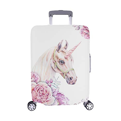 (Solo copertina) Acquerello Testa di unicorno con motivo a fiori Spandex Trolley Custodia da viaggio...