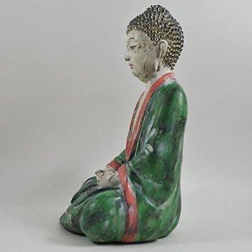 Cross Legged figura de buda grande rojo verde piedra lavar espiritual al aire libre H27cm 4