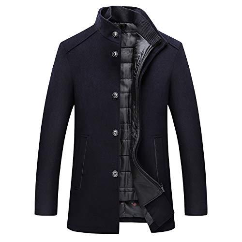 Giacca da Trench in Lana da Uomo Giacca Slim Fit Parka Winter Warm (1 * Coat + 1 * Vest)