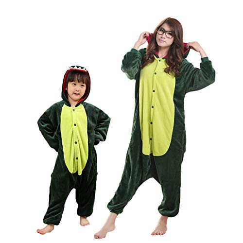 DEBAIJIA Adulto Unisex Pijamas Animal Ropa de Dormir Novedad Disfraces Pijama para Niños Verde de Dibujos Animados de Franela - 135
