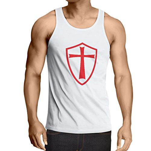 lepni.me Camisetas de Tirantes para Hombre Caballeros Templarios - Escudo de los Templarios (Small Blanco Rojo)