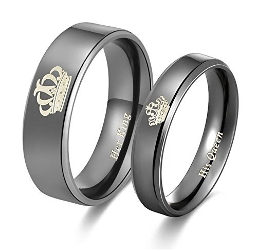 Yellow Chimes His Queen Her King Couple Collection Ring for Women (Black)(YCFJCR-12CRWN-BK)