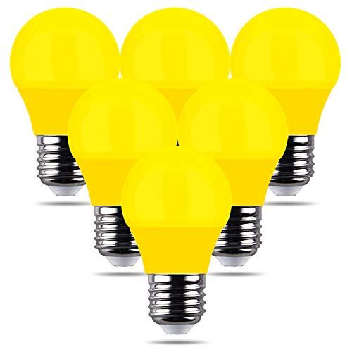 REPSN 6 X Decorative Giallo Colorate Lampadine Led E27 4W, Risparmio Energetico Lampada Colorata, Golf Palla Lampadina, Per Esterno Interna Stringa, Natale Albero, Festa Luci Notturne