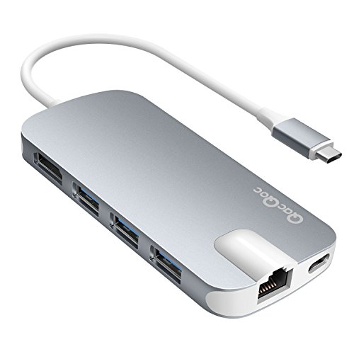 Adattatore USB C QacQoc GN30H USB C hub con 1 connettore di tipo C( Per caricare)/ PD, 1 uscita HDMI, 2 lettore di schede (SD&Micro SD), 3 porte USB 3.0, 1 connettore di Gigabit Ethernet, specifica per macbook pro, in lega di alluminio(Grigio)