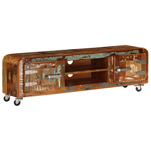 vidaXL Mobile Porta TV in Legno Massello di Recupero Vintage Armadietto Basso