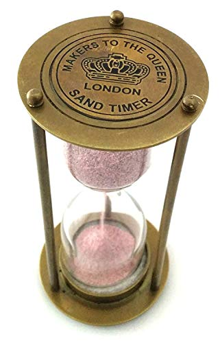 Collectibles Collection Vintage Style Clock Brass Hour Glass Antique Look Sand Timer (4 inch, Gold)
