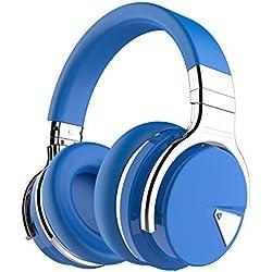 COWIN E7activo con Bluetooth y cancelación de ruido auriculares de diadema con micrófono graves profundos auriculares inalámbricos auriculares de, cómodo almohadillas de proteína, 30h reproducción para viajes trabajo TV ordenador iphone, Color Azul