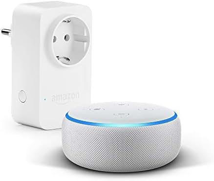 Echo Dot (3. Gen.), Sandstein Stoff + Amazon Smart Plug (WLAN-Steckdose), Funktionert mit Alexa