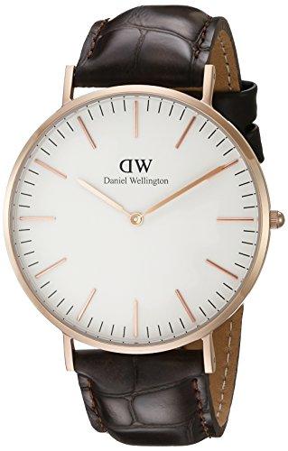 Daniel Wellington Herren-Armbanduhr Analog Quarz Leder DW00100011 Braun