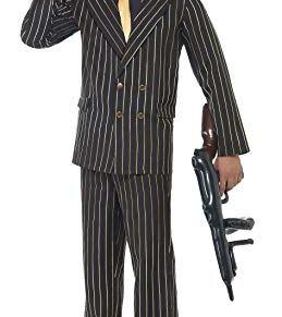Smiffy'S 22414L Disfraz De Gánster De Raya Diplomática Dorada Con Chaqueta, Pantalones, Pechera De Camisa Y Corbata, Negro, L - Tamaño 42