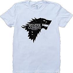 Juego Of Tronos Casa Stark Invierno Es Viniendo Blanco Por Encargo T-Shirt - Medium