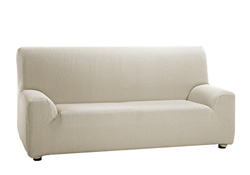 Martina Home Tunez Copridivano elastico, Tela (50% poliestere, 45% cotone, 5% elastan), Avorio, 3 posti da 180 a 240 cm di larghezza