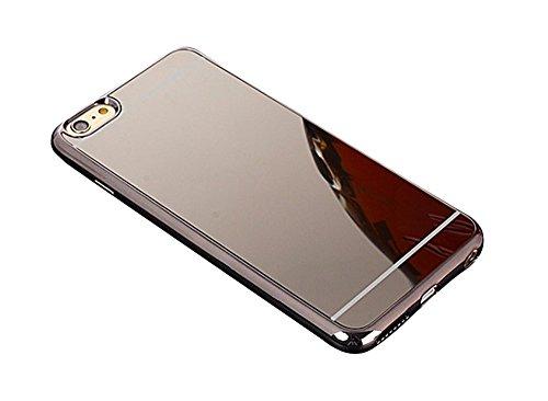 [ Apple iPhone 8 Plus, Schwarz - Black ] Spiegelhülle - Mirror Case/Luxury Full Bumper Spiegel/Schminkspiegel/Hülle