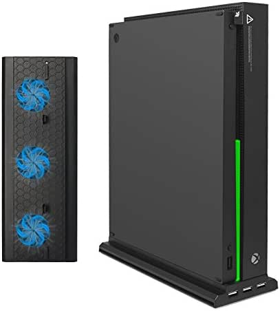 Xbox One X Vertikaler Ständer mit Kühler, fastsnail Vertikaler Ständer für Xbox One X mit 3USB-Ports und Einem Licht Bar (Nur für Xbox One X)