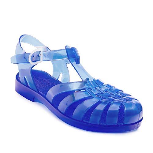 Andres Machado-am188-Sandali di Plastica Trasparente, Blu (Blau), 35,5 EU