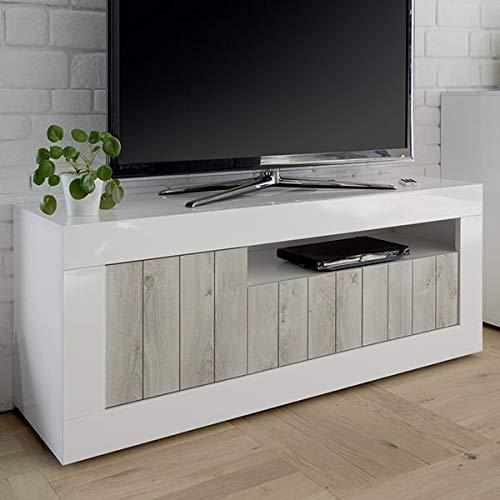 Mobile TV 140cm Bianco Laccato Moderno, 3Porte Urban 3