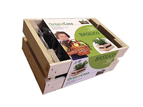 KIT per orto sul balcone BASILICO, il tuo orto urbano. ORTO BOX: cassetta in legno naturale di abete PEFC, con torba e sementi da agricoltura biologica. Coltiva facilmente sul terrazzo o all'interno