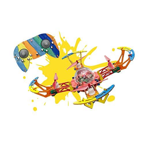 Koi Velivoli telecomandati Senza Testa droni assemblati in Legno Fai-da-Te, Graffiti Dipinti a Mano Modello Elicottero Aereo per Il miglior Regalo per Studenti e Bambini,200Wpixels
