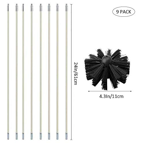 Foonee Chimney Sweep Kit, Dryer Duct Cleaning Brush with Flexiable Rods, Drier Vent Lint Sweeping Tools for Household and Industrial Use