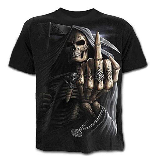 Talla S - C02 - T-Shirt - Camiseta - 3D - Mangas Cortas - Hombre - Mujer - Unisex - Divertido - Idea de Regalo - Accesorios - Cosplay - Mascarada - Calavera - Muerte - Gótico - Metal - Rock