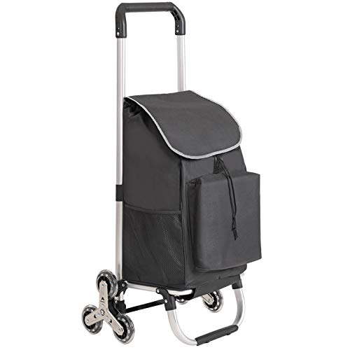 SONGMICS Carrito de la Compra Plegable para Subir Escaleras con 6 Ruedas, con Bolsa Aislante, Capacidad de Carga de 30 kg, Negro KST05BKV1