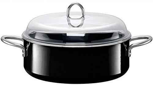 Silit Professional Schmortopf mit Glasdeckel Ø 28 cm, Silargan Funktionskeramik, Schüttrand, induktionsgeeignet, spülmaschinengeeignet, schwarz, 6,0l