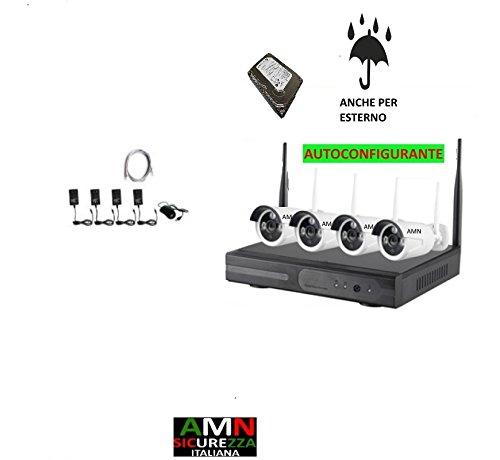 KIT WIRELESS WIFI VIDEOSORVEGLIANZA PROFESSIONALE 'AMN SICUREZZA' AHD DVR FULL HD 4 TELECAMERE HARD DISK INCLUSO 320GB REGISTRAZIONE 6GG (SOVRASCRIVE IN AUTOMATICO)