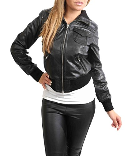 House Of Leather Giacca di Cuoio Reale del Bomber delle Donna Blouson Casuale Breve di Slim Fit Motto Nero (Small)