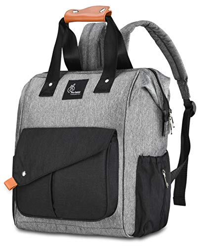 R for Rabbit Caramello Delight Diaper Bag Backpack -Multi-Function Waterproof Mother Bag for Travel with Baby - Large Capacity, Durable and Stylish.(Grey Black)