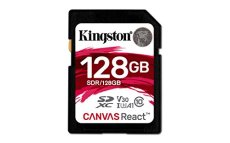 Kingston Canvas React - Tarjeta SD de 128 GB, Color Negro
