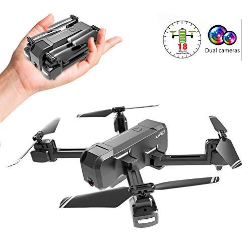 TENCMG Pieghevole Drone con Doppia Fotocamera 4K / 1080P HD 90 riprese grandangolari - 1800Mah 18min Flight Time Quadricottero - Facile per Principianti,4k