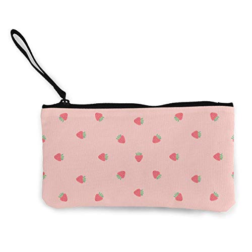 TTmom Portamonete da Donna, Strawberry Pattern Canvas Change Coin Purse Retro Money Bag With Zipper
