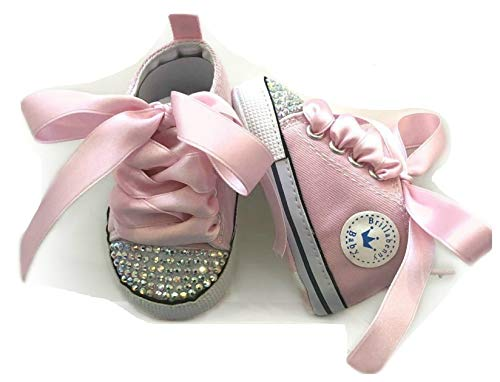 BrillaBenny Scarpine Scarpe Sneakers Strass Bimba Neonato Bambina Rosa/Baby Shoes Pink Birthday Party Events Wedding Gift Rhinestone Crystal Diamond Bling Luxury (3-6 Mesi Lunghezza Suola 10,5cm)