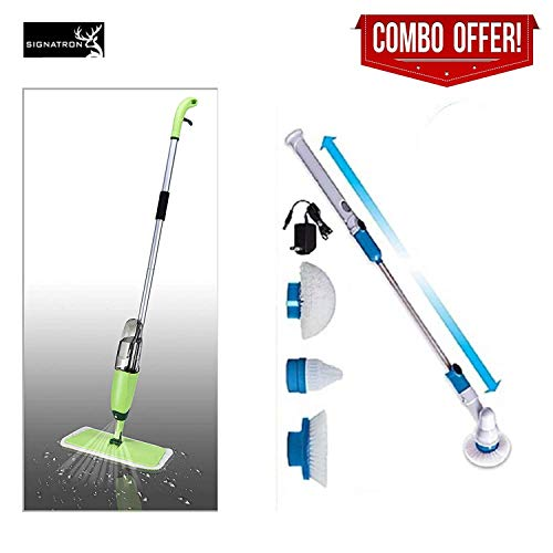 SIGNATRON Combo Offer Power Scrubber and Rechargeable Spin Electric Floor Bathroom Tiles Cleaner Machine and Easy Aluminium Spray Mop with Best 360 Degree Movement