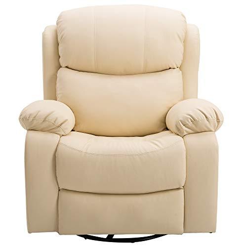 HOMCOM Poltrona Dondolo Relax Massaggiante Riscaldante Reclinabile Ecopelle 94 × 103 × 100cm Beige