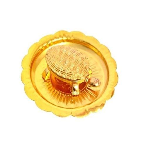 SAHAYA Vaastu/Fengshui Tortoise/Turtle/ Kachua (For Good Luck) with Metal plate-Brass (Golden Color) Wish fulfillment