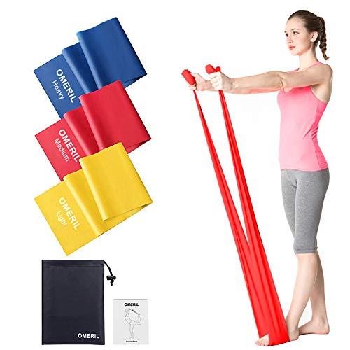 OMERIL Bande Elastiche Fitness (3 Pezzi), 1,5 m/ 2 m Fasce Elastiche con 3 Livelli di Resistenza,...
