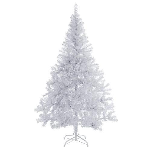 Casaria Albero di Natale 180cm 533 Rami PVC Supporto in Metallo Abete Artificiale Decorazione Natalizia Bianco