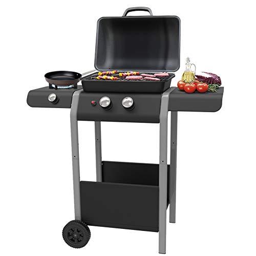 Bakaji Barbecue a Gas 2 Fuochi Bruciatori Griglia BBQ con Piano e Fornello Laterale Ruote e Ripiano...
