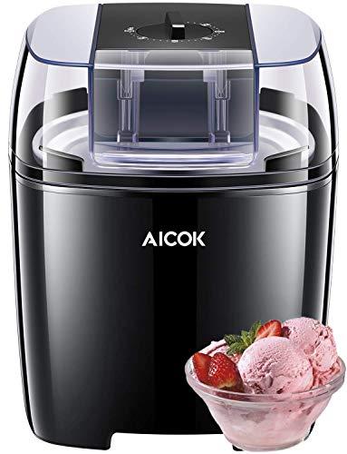 Aicok Macchina del Gelato Gelatiera Frozen Yogurtiera Macchina Yogurt 1.5L con Funzione Timer e...