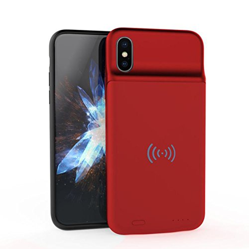 Gadgets Appliances 3600mAh Slim Charging Case with Wireless Charging Support Charge Both and Battery case wirelessly at The Same time for iPhone Xs (2018)/ iPhone X (2017)(Red)(Pack of 1)