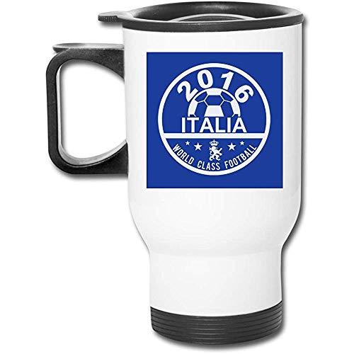 Euro 2016 Fútbol Italia Italia Disco Azul 16 Oz Vaso inoxidable Taza de café de vacío de doble pared con tapa a prueba de salpicaduras